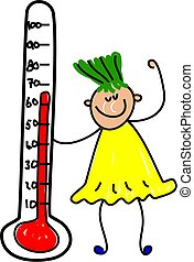 thermometer kid - little girl holding health thermometer -...