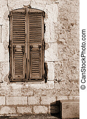Antibes 207 - Window shutters and an old building in...