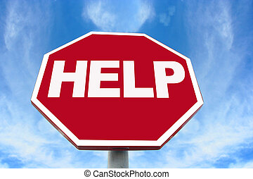 help sign - Help sign on an octagonal stop sign background.