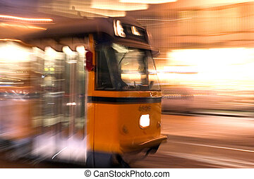 Travelling by tram - Tram moving fast