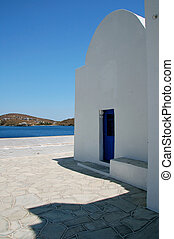 greek chapel - Clean architectural lines, absolute white,...