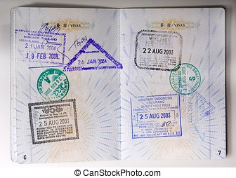 Passport Stamps - Passport stamps entering Thailand,...