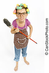 housewifes caricature - caricature of housewife - threaten...