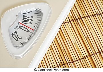 Weight scale on bamboo