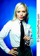 Business on blue - Sexy Young Business woman wearing white...