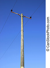 Power and cable on blue sky