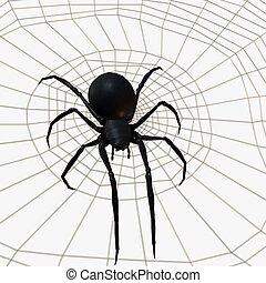 pretas, aranha, Viúva