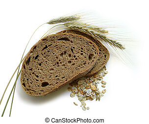 Brown bread, corn - Brown bread, rye ears spikes and corn -...