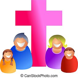 Christian family - Religious happy family - icon people...