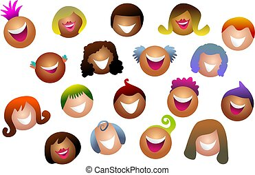 diverse crowd - Diverse and happy crowd of people - icon...