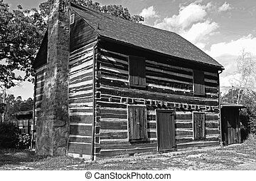 American Architecture - Cabin 1 - Reconstructed log cabin in...
