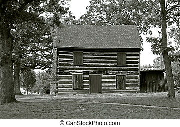 American Architecture - Cabin 2 - Reconstructed log cabin in...