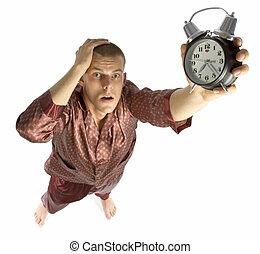 sleepyhead - man who has overslept to work
