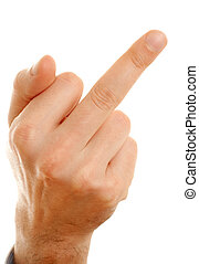 middle finger of arrogant man