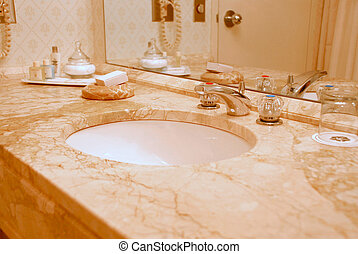 Bathroom interior - Luxury bathroom interior in beige tones