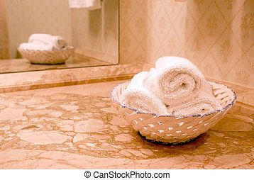 Towel in bathroom - Towels in luxury bathroom with beige...