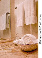 Towels in bathroom - Towels in luxury bathroom with beige...