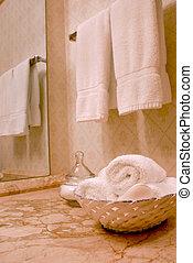 Towels in bathroom - Towels in luxury bathroom with beige...