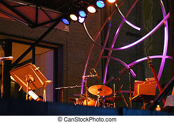 Outdoor stage music - Outdoor stage at jazz festival in...