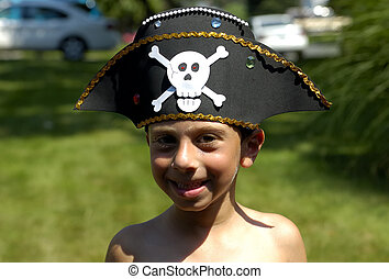 Pirate Hat - Child Wearing a Pirate Hat