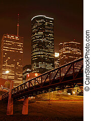 Bridge Over Night Skyline - bridge cross over under night...