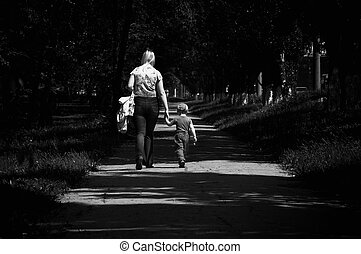 steps without father - mother and child