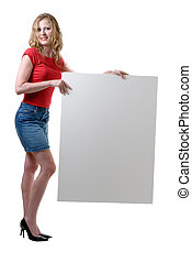 Sexy Woman holding blank sign - Woman holding blank sign...