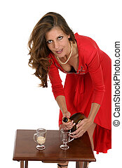 Woman In Red Dress Pouring Drinks - Beautiful woman in a red...