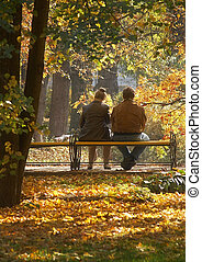 Middle age couple - Autumn meeting of middle age couple