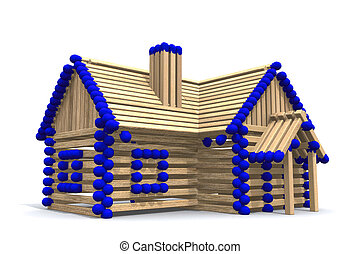 Build your own home - One storey house from matches - 3D...