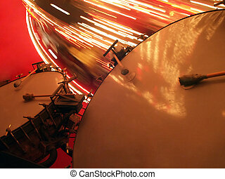 grande, bajo, tambores, Tiovivo