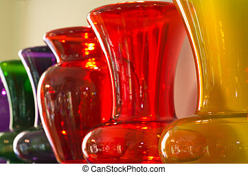 Colored Vases - Row of colored vases