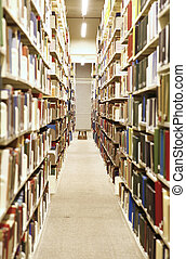 Library Interior - Long hallway in a library