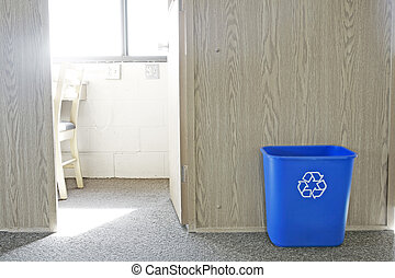 Recycle Bin - Recycling bin outside study room