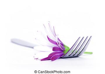 tenedor, flor