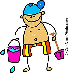 beach kid - little boy with bucket and spade ready for the...