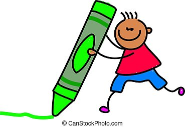 crayon kid - little ethnic boy drawing with a giant green...