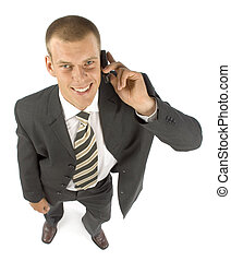 businessman with cell phone - businessman talking mobile...