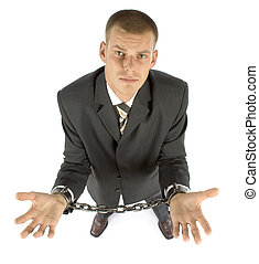 chained businessman - businessman with chains on his hands