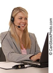 Help Desk Girl - Business lady at computer with headset