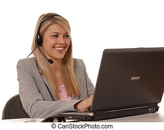Help Desk Girl Smile - Business lady at computer with...