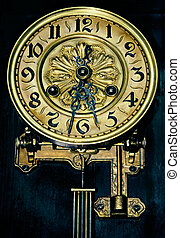 Dial of ancient hours of the forgotten things hanging in a...