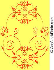floral background - hand drawn floral motive on yellow...