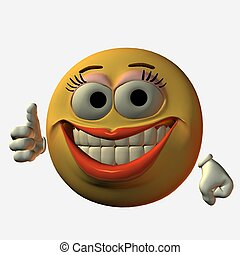 Smiley-Thumbs up - 3D Render