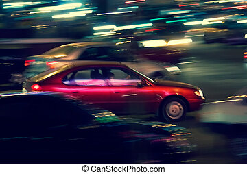 Abstract night traffic - The brisk night movement at centre...