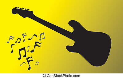 Electric Guitar - Electric guitar silhouette with music...