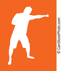 Fighter silhouette throwing a south paw jab. CLIPPING PATH...