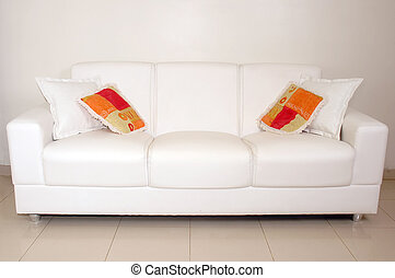 Sofa - Interiors - Sofa with white and colored cushions...