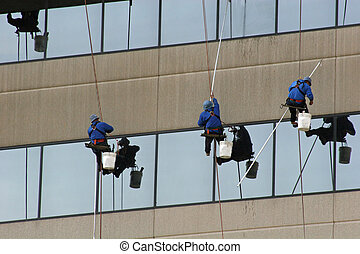 Window Washers 1 - Window washers on side of highrise