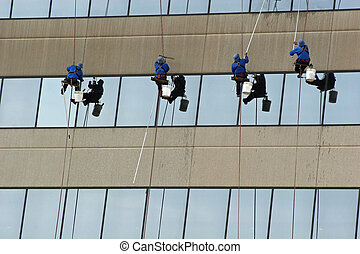 Window Washers 2 - Window washers on side of highrise